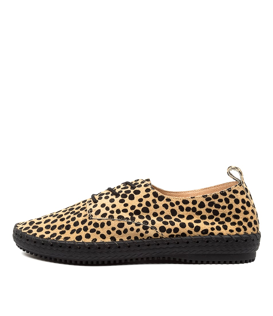 Buy Supersoft Waterlilie Su Cheetah Black Sole Flats online with free shipping