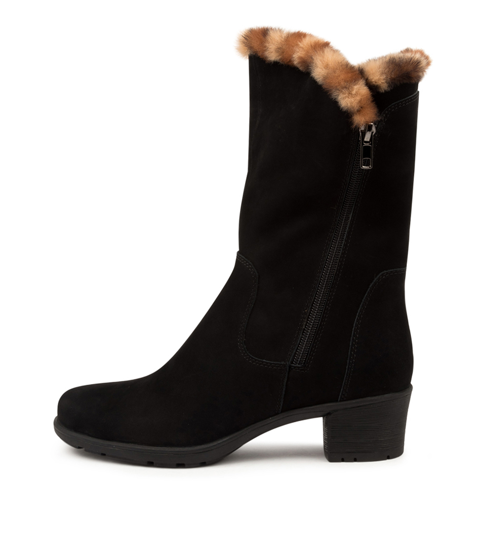 Buy Supersoft Iris Su Black Tan Leopard Calf Boots online with free shipping