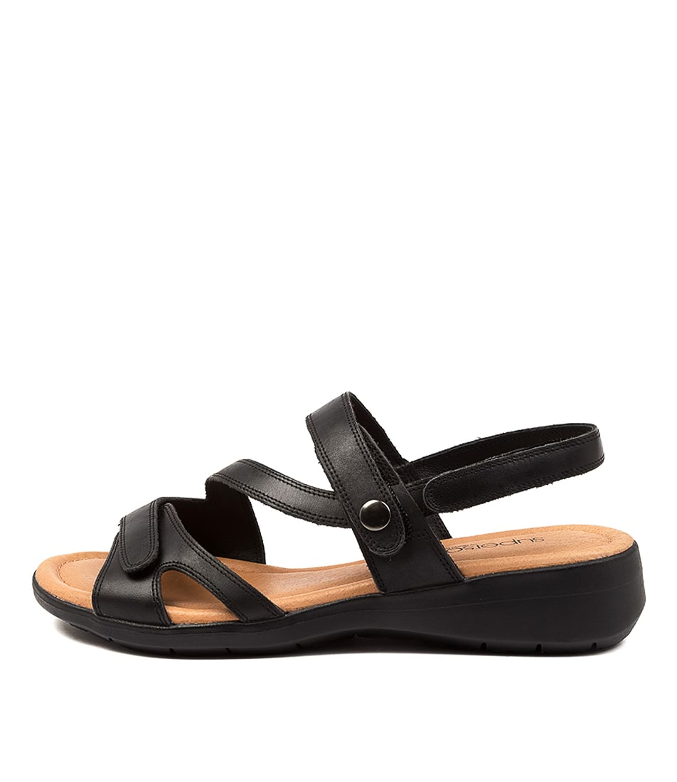 Buy Supersoft Fae Su Black Flat Sandals online with free shipping
