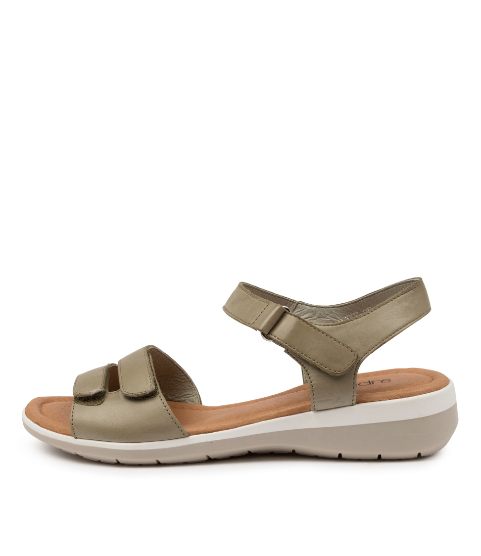 Buy Supersoft Fonzie Su Khaki Flat Sandals online with free shipping