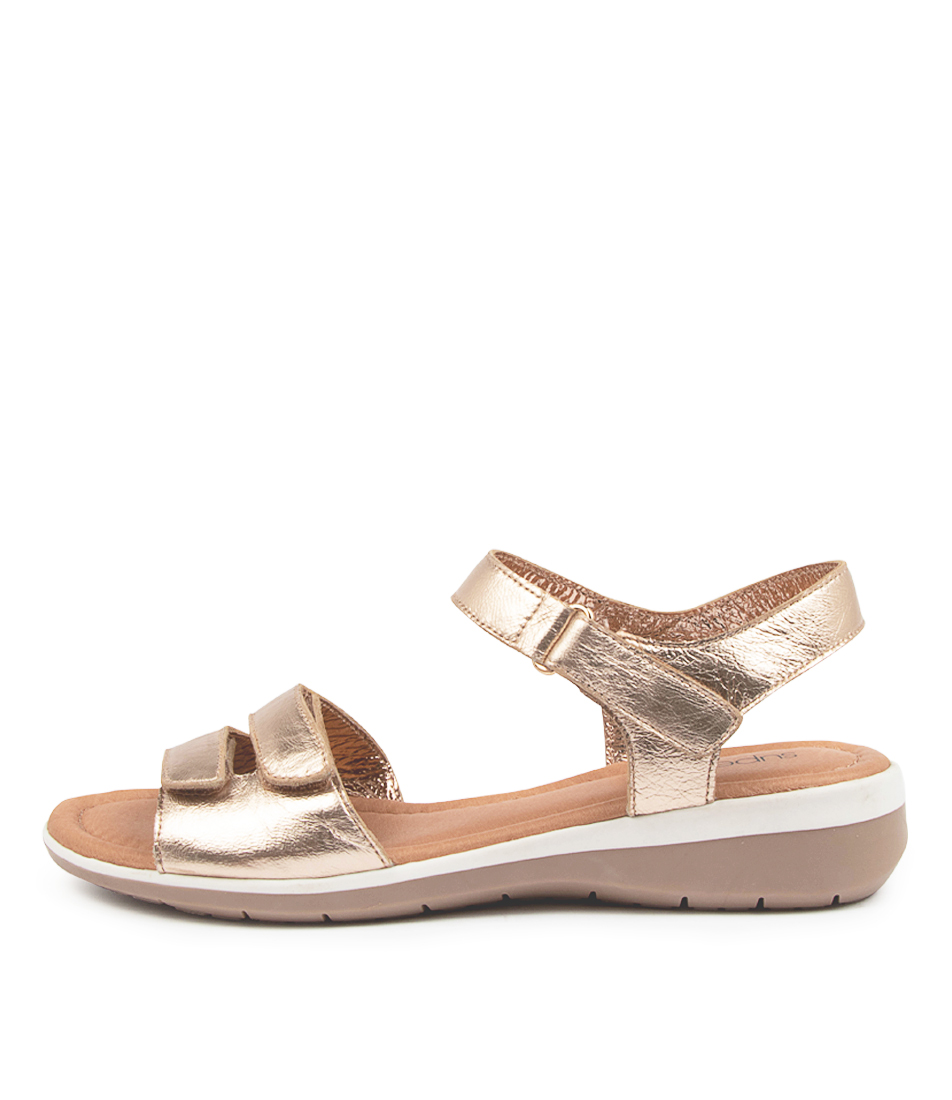 Buy Supersoft Fonzie Su Champagne Flat Sandals online with free shipping