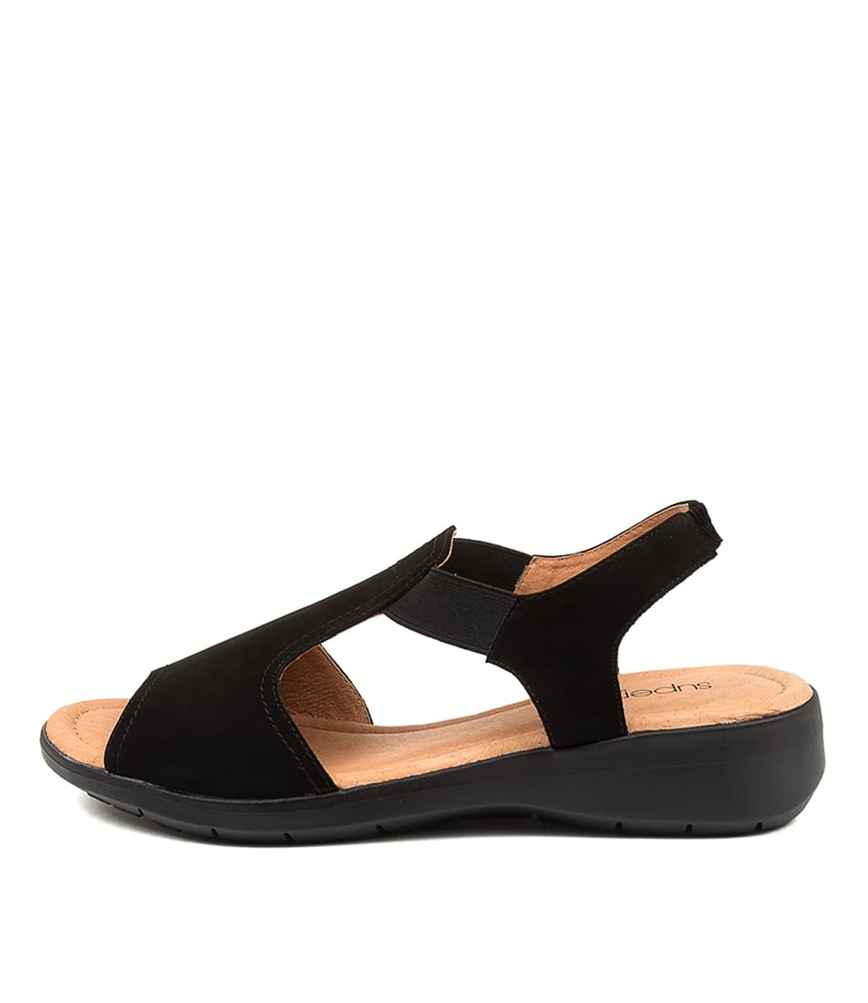 Buy Supersoft Fortune Su Black Flat Sandals online with free shipping