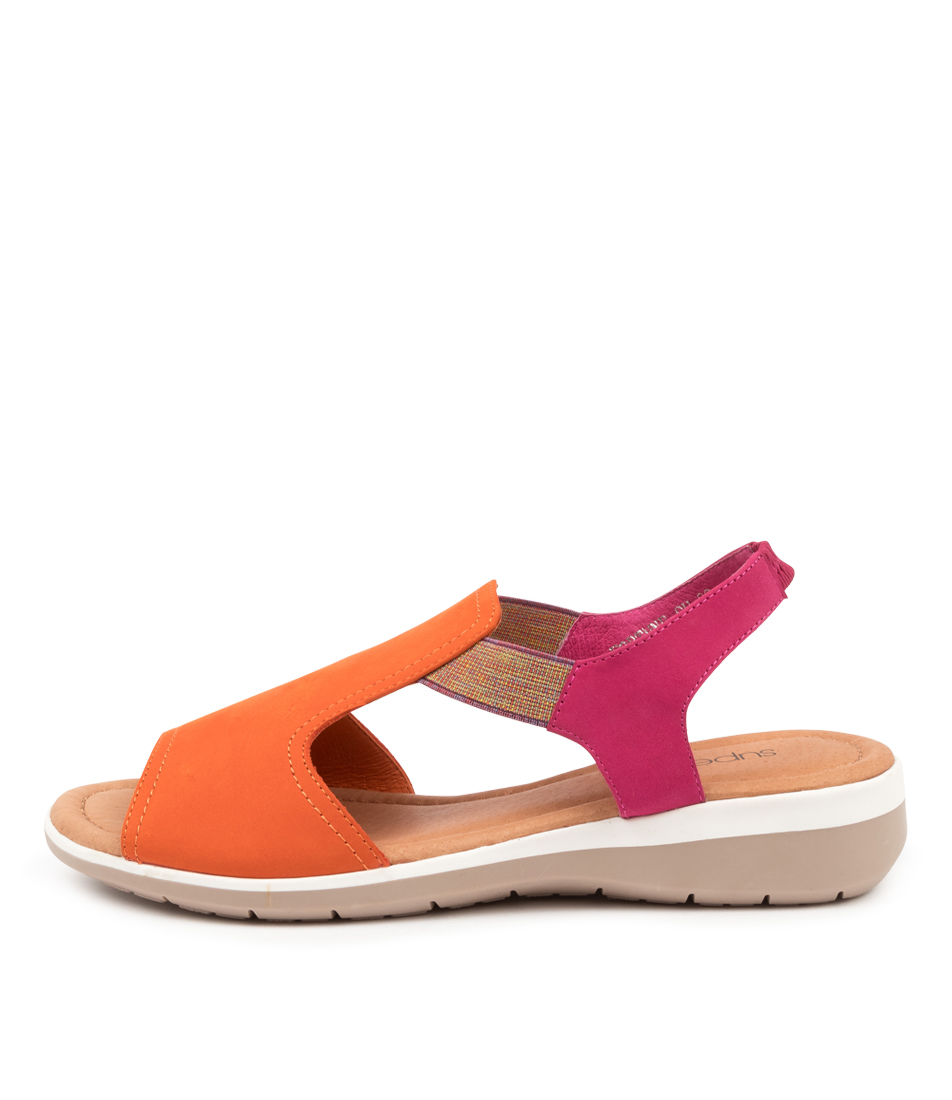 Buy Supersoft Fortune Su Tangerine Fuchsia Flat Sandals online with free shipping
