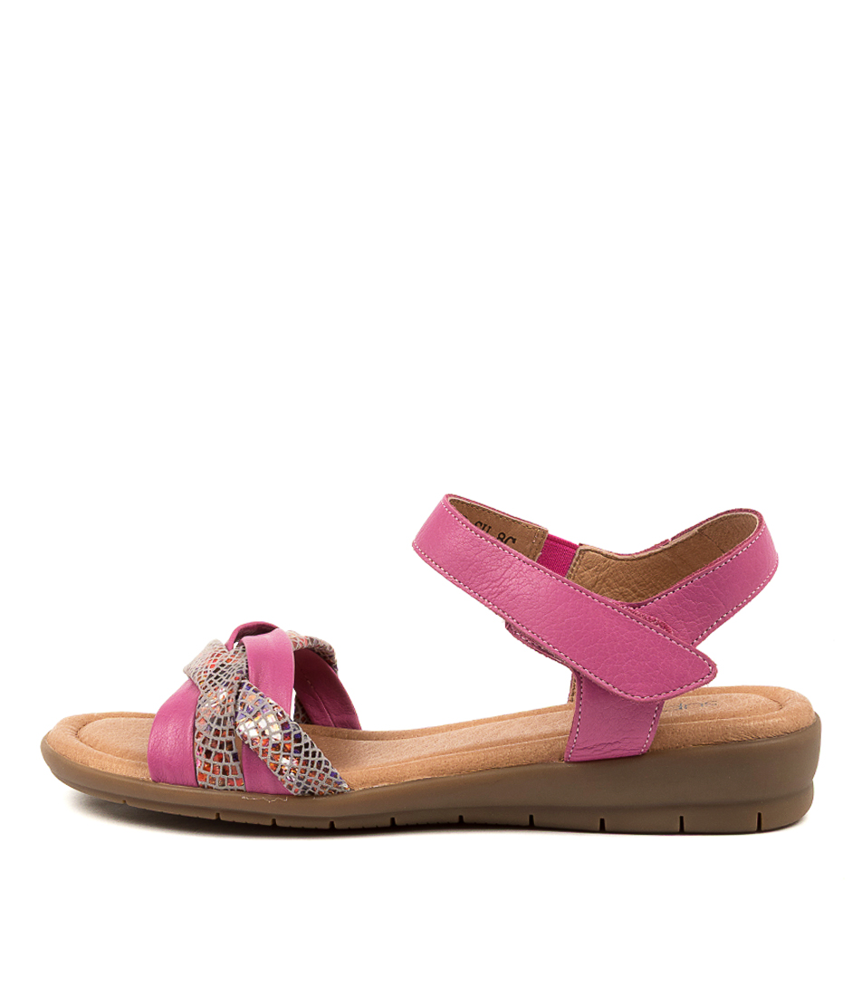 Buy Supersoft Fawnker Su Fuchsia Fuchsia Multi Flat Sandals online with free shipping