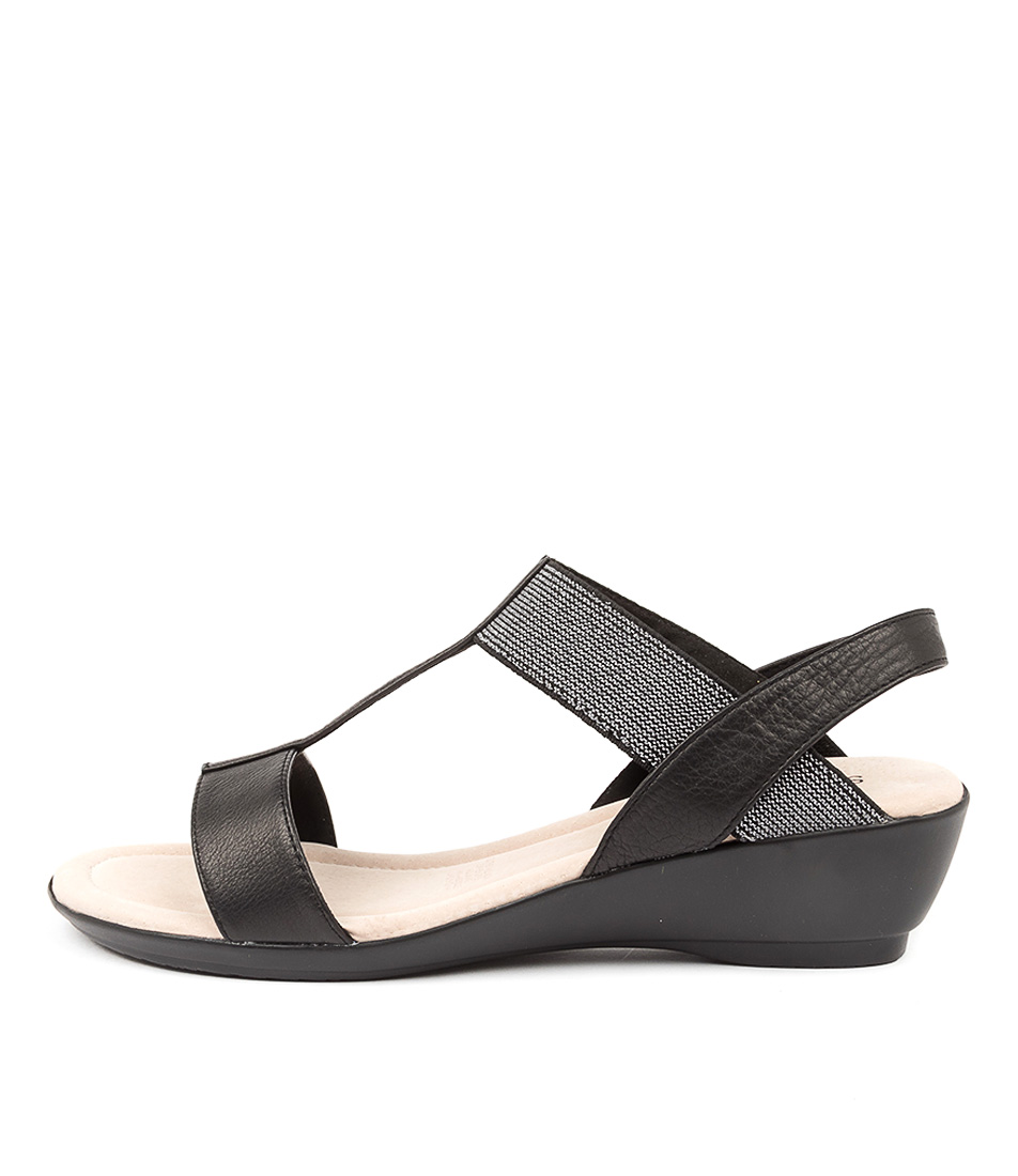 Buy Supersoft Peaches Su Black & Silver Heeled Sandals online with free shipping