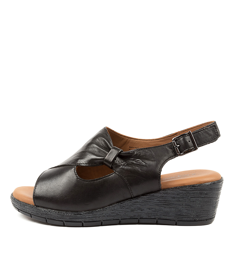 Buy Supersoft Manfried Su Black Charcoal & Black Sole Heeled Sandals online with free shipping
