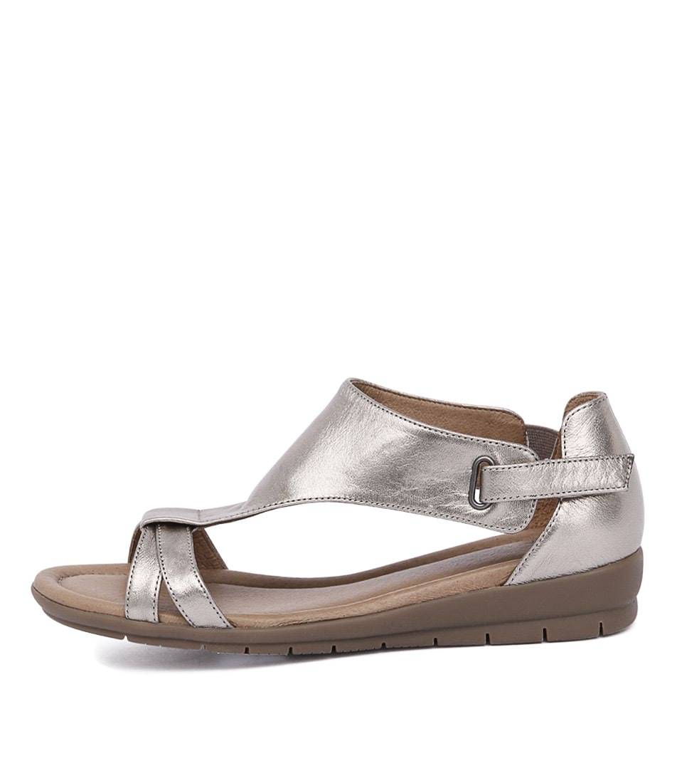 Supersoft Flitter Pewter Metallic Casual Flat Sandals