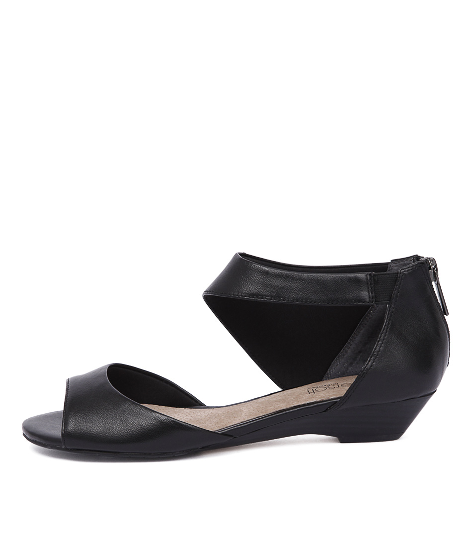 Supersoft Braydee Black Casual Heeled Sandals