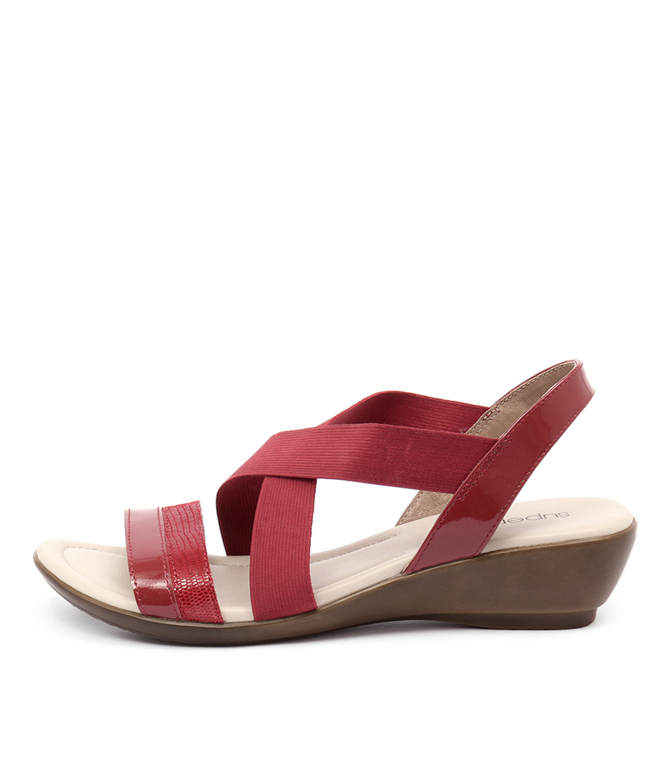 Supersoft Penza Fire Red Casual Heeled Sandals
