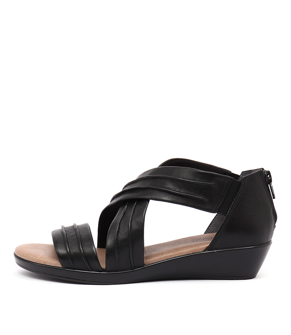 Supersoft Vora Black Casual Heeled Sandals