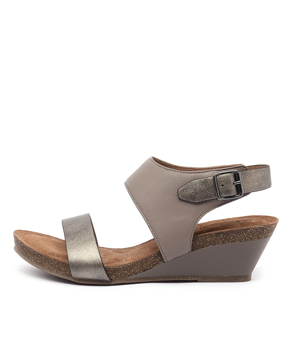 Supersoft Roama Oatmeal Pewter Heeled Sandals