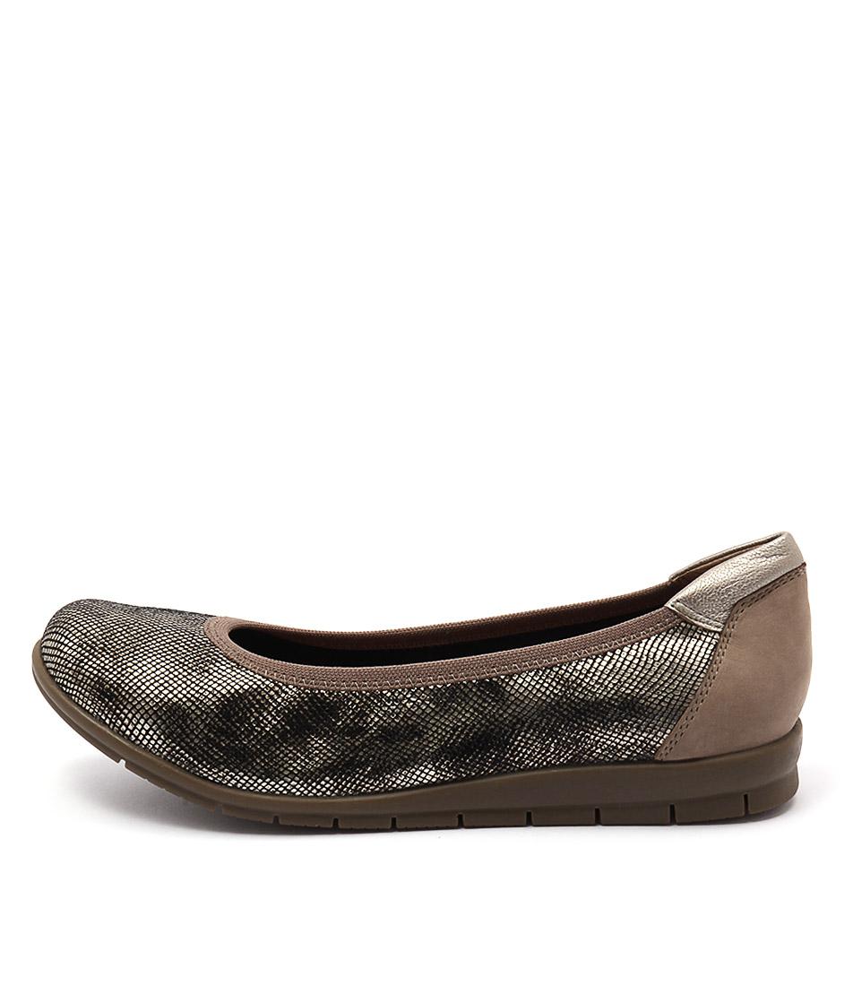 Supersoft Falls Su Oatmeal Gold Flat Shoes