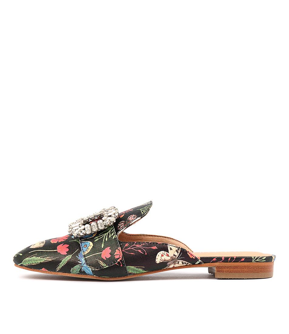 Top End Scramble Black Floral Flat Shoes