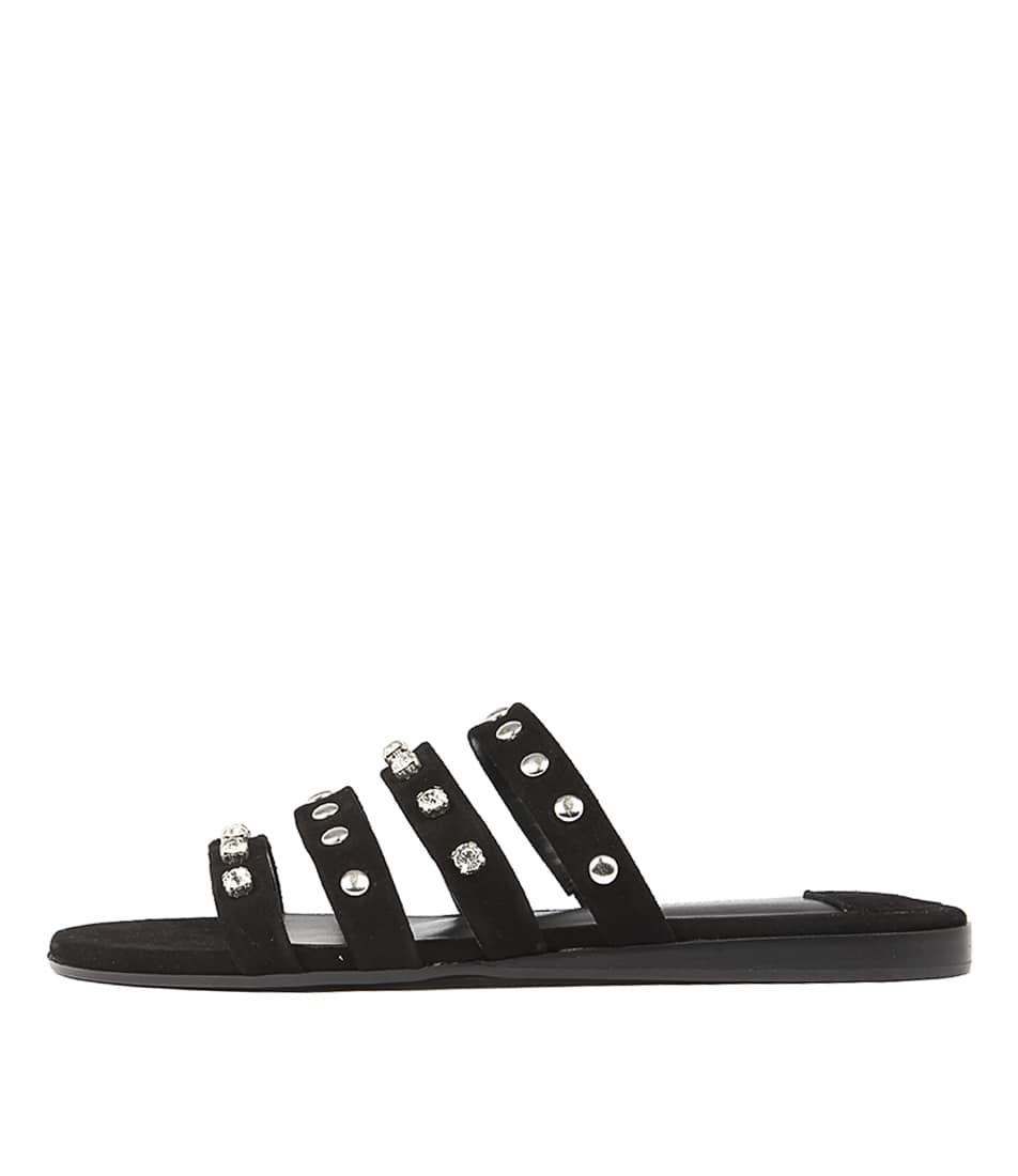 Tony Bianco Jan Black Flat Sandals