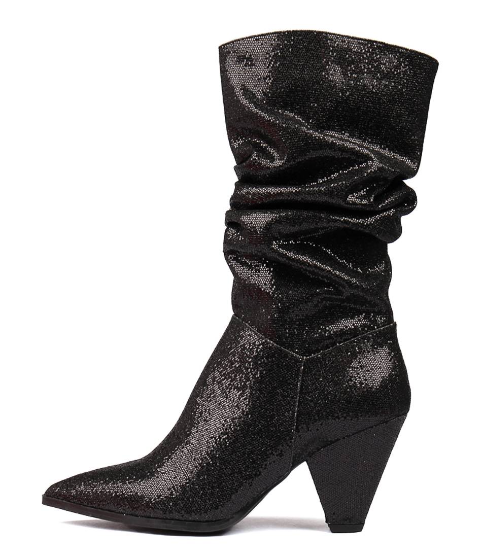 popular brand huge selection of hot-seeling original Details about New Therapy Felicia Black Glitter Womens Shoes Dress Boots  Long
