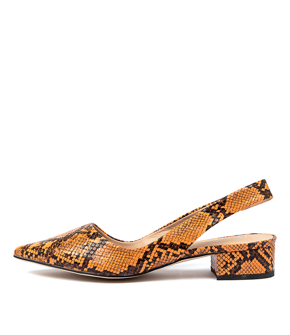 Buy Therapy Audrey Th Orange Snake High Heels online with free shipping