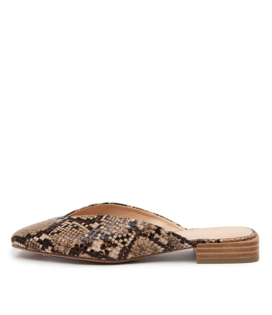 Buy Therapy Mila Th Taupe Snake Flats online with free shipping