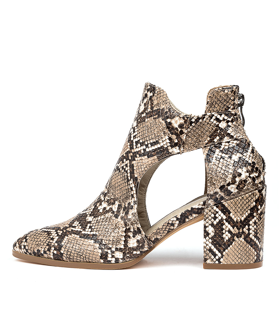 Buy Therapy Maya Th Taupe Snake Ankle Boots online with free shipping