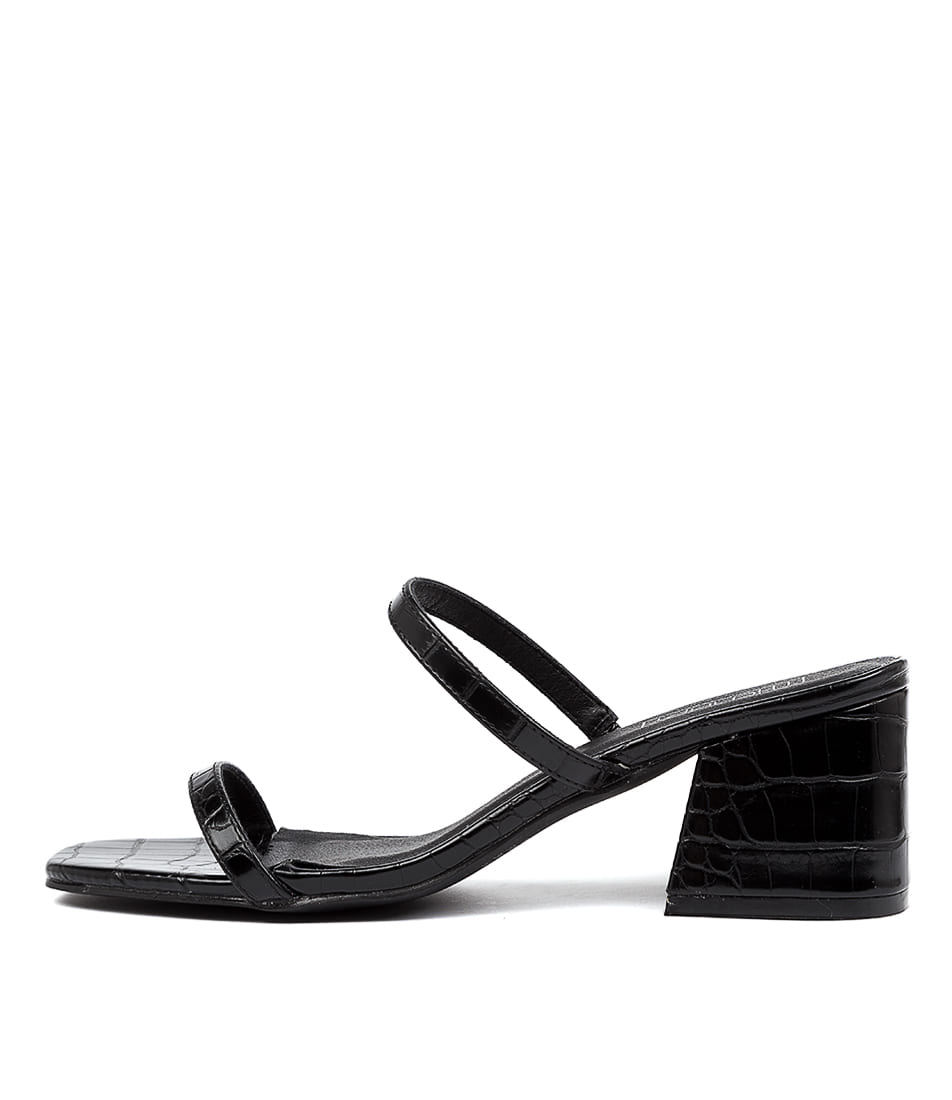 Buy Therapy Goldie Th Black Croc Heeled Sandals online with free shipping