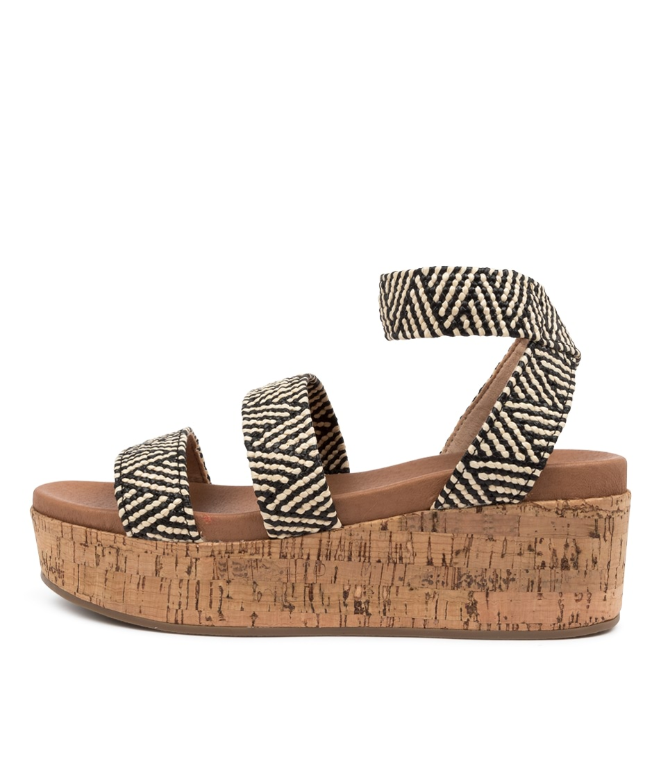 Buy Therapy Wilder Th Black Natural Heeled Sandals online with free shipping