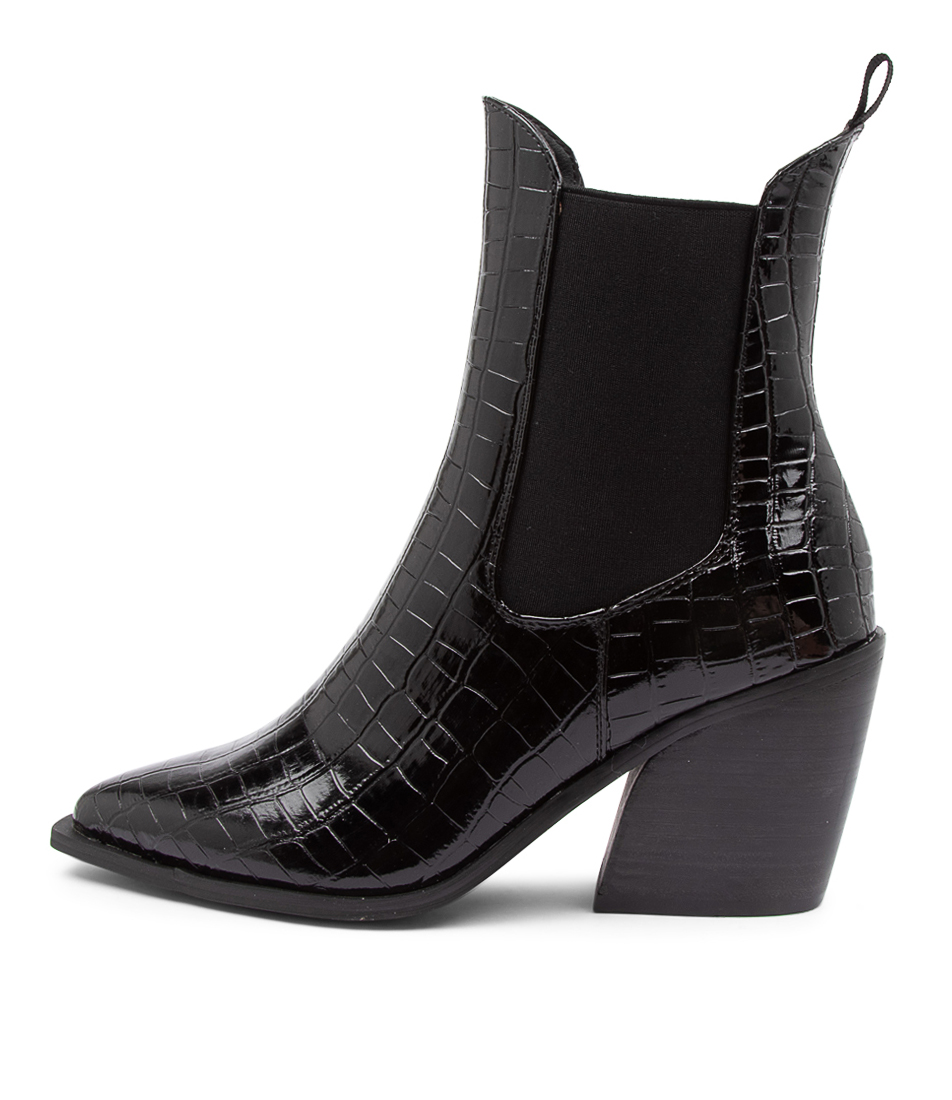 Buy Therapy Josette Th Black Croc Ankle Boots online with free shipping
