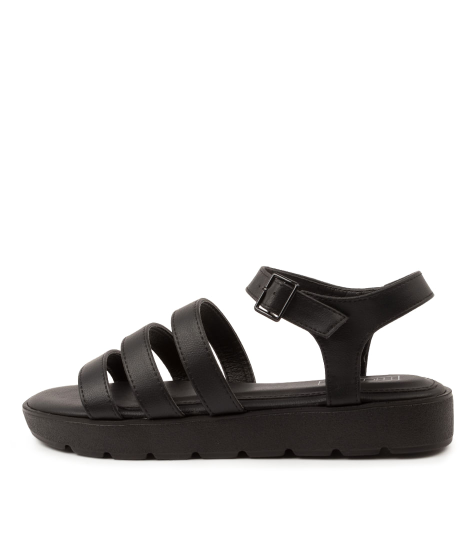 Buy Therapy Saxon X Th Black Flat Sandals online with free shipping