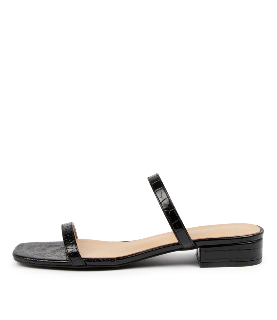 Buy Therapy Beatrix Th Black Croc Heeled Sandals online with free shipping