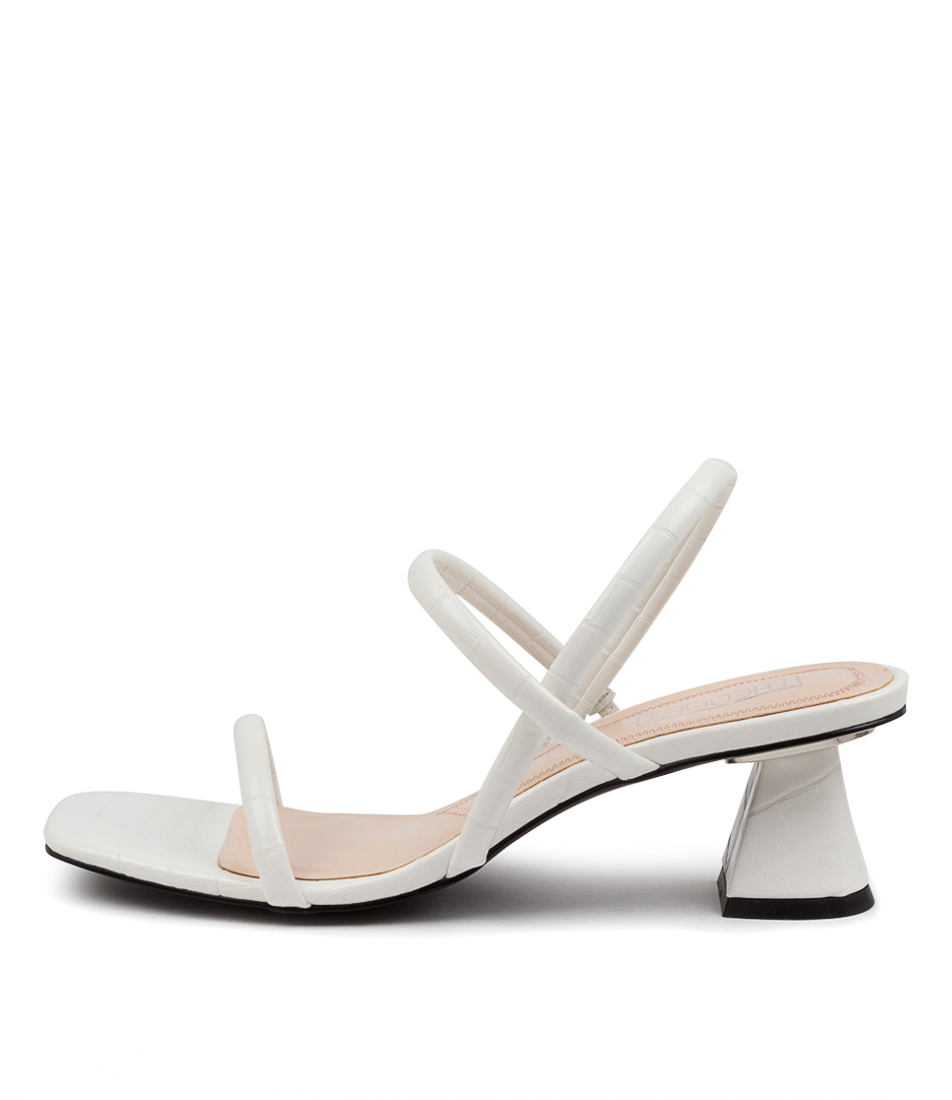 Buy Therapy Betta Th White Croc Heeled Sandals online with free shipping