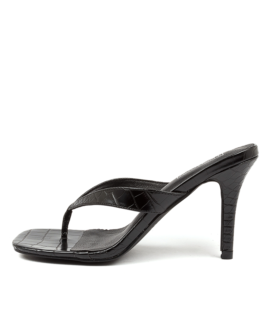 Buy Therapy Mira Th Black Croc Heeled Sandals online with free shipping