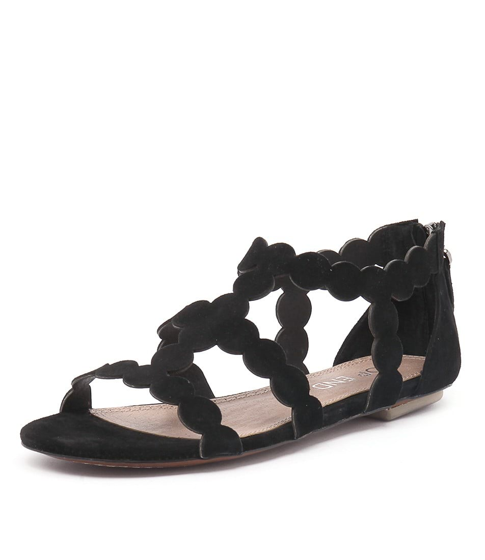Top End Pless Black Flat Sandals