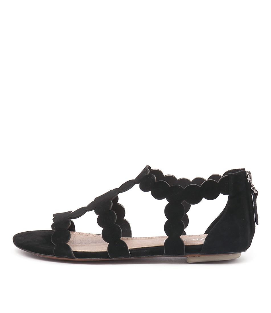 Top End Pless Black Flat Sandals