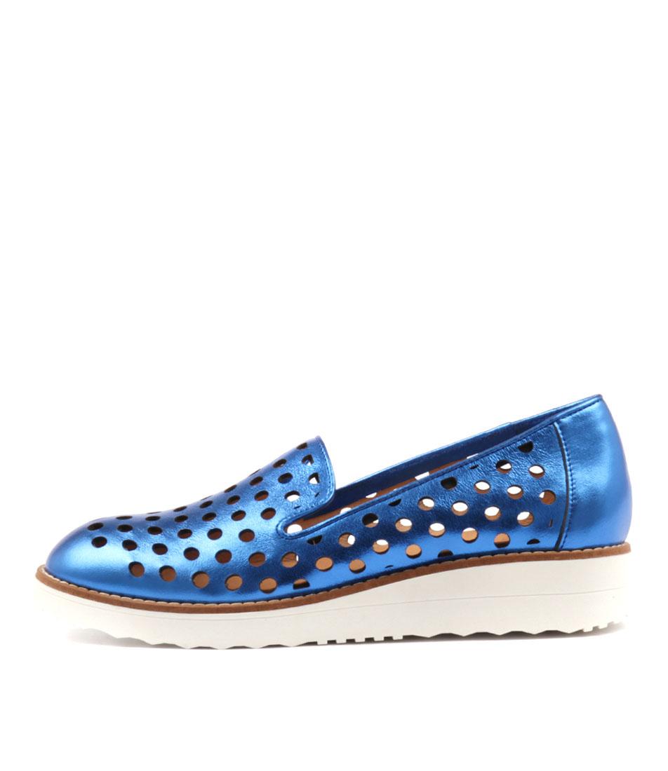 Top End Oslo Cobalt Metallic Flat Shoes