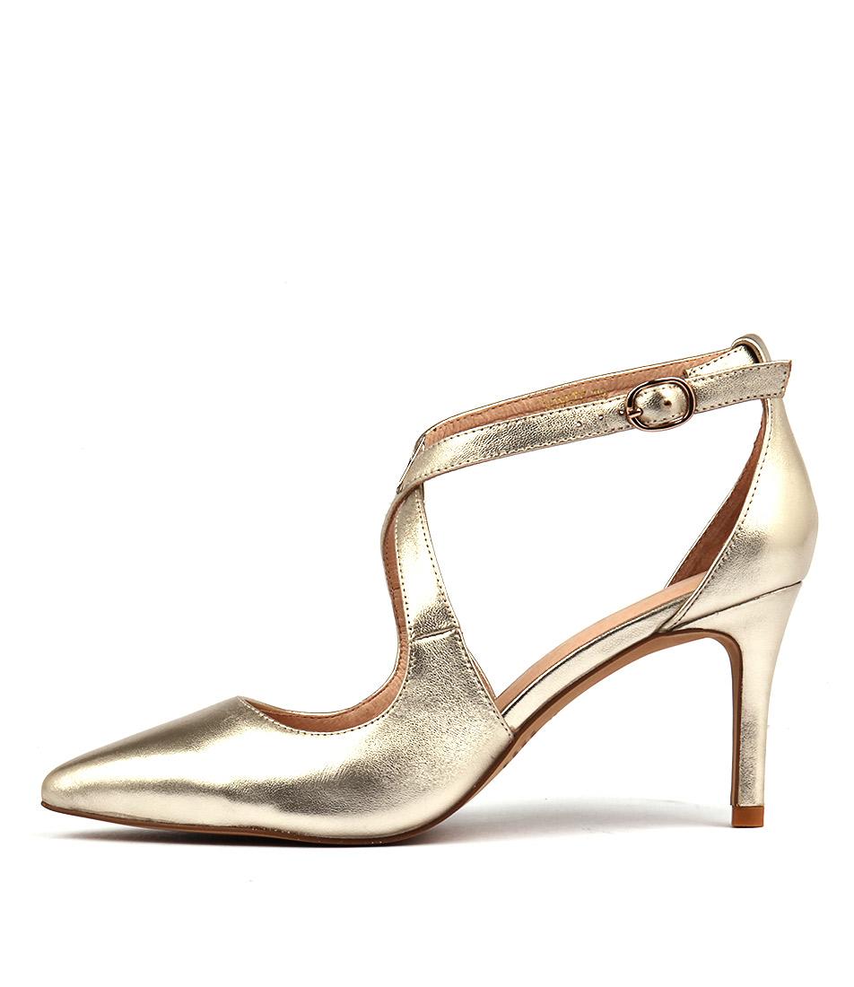 Top End Bonnie Pale Gold Heeled Shoes
