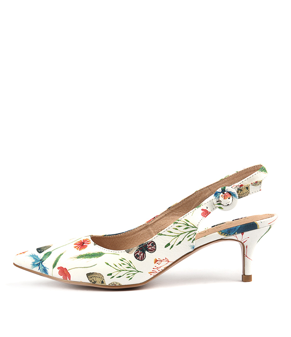 Top End Christy White Floral Casual Heeled Shoes