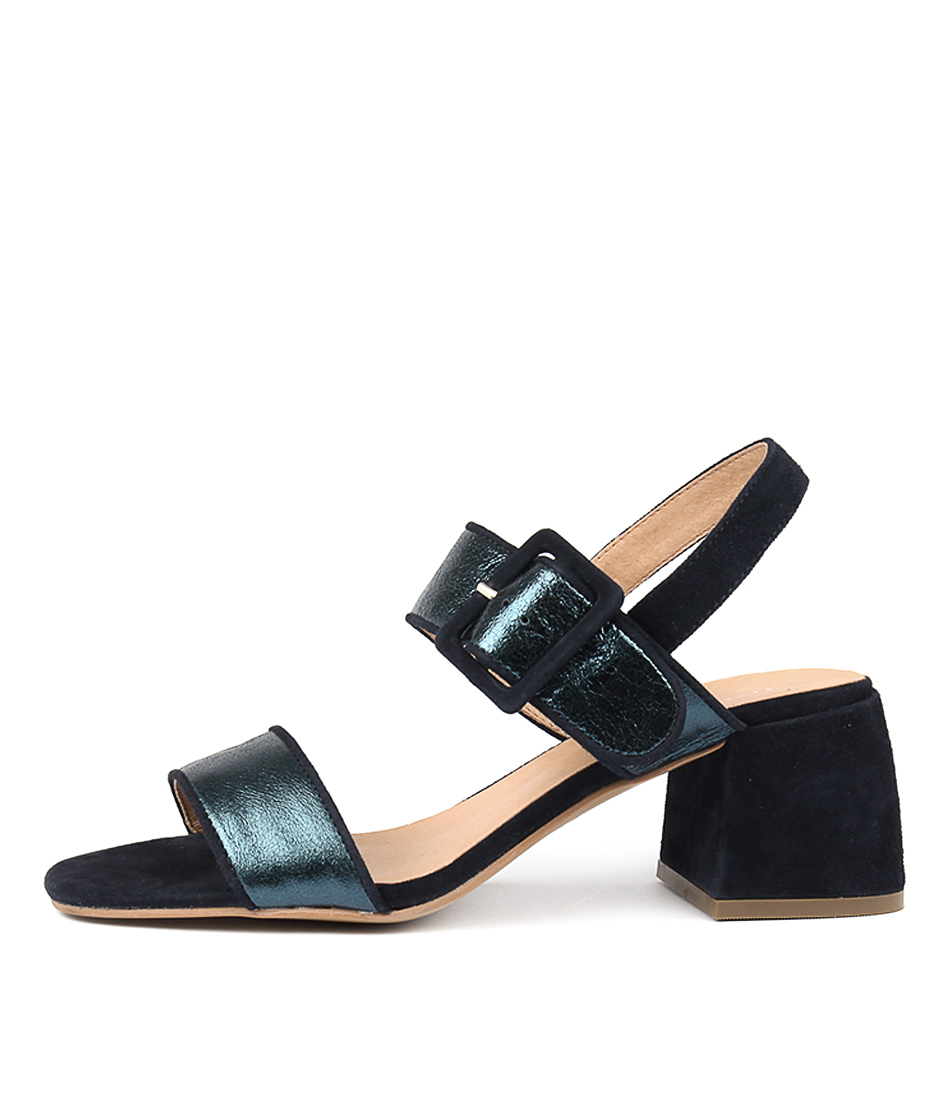 Top End Wowers Teal Metallic Heeled Sandals