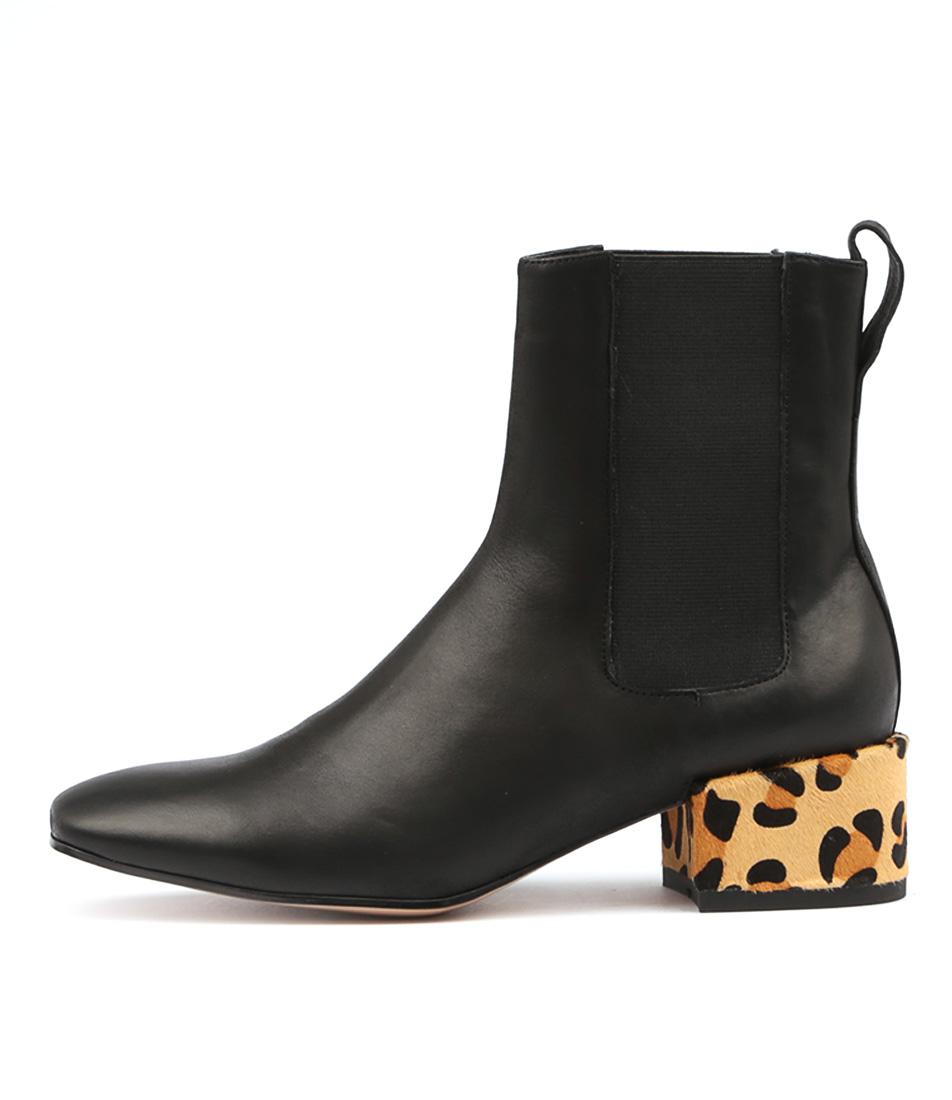 Top End Halie Black Ocelot Ankle Boots