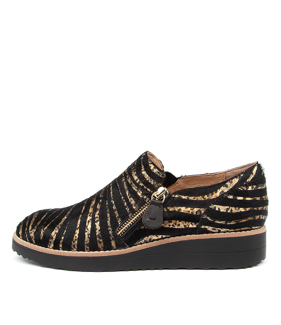 Buy Top End Otilia Black & Gold Zebra Flats online with free shipping