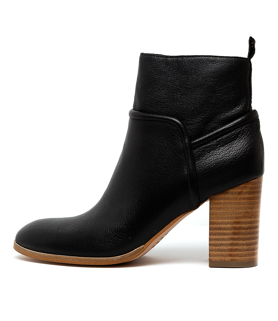 Buy Top End Althea Black Natural Heel Ankle Boots online with free shipping