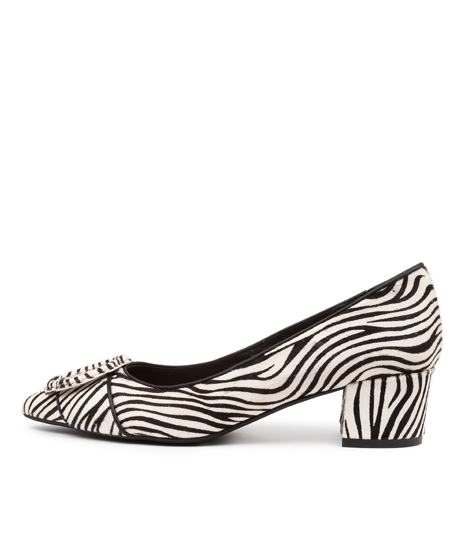 Buy Top End Ameer Black & White Zebra High Heels online with free shipping