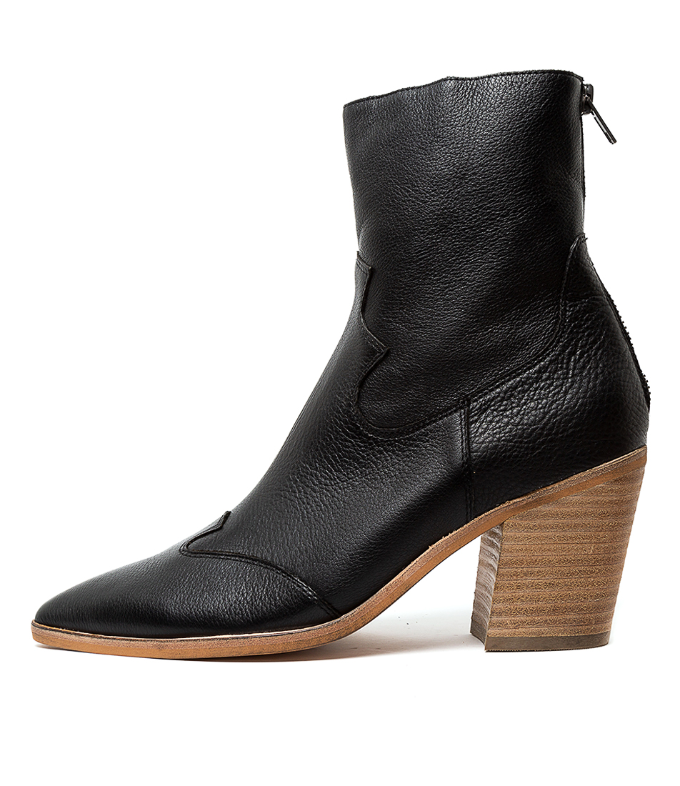 Buy Top End Miller Black Natural Heel Ankle Boots online with free shipping