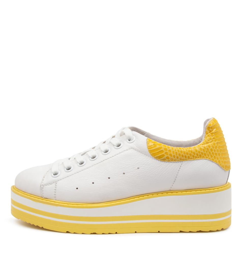 Buy Top End Siobhan White Yellow Sneakers online with free shipping
