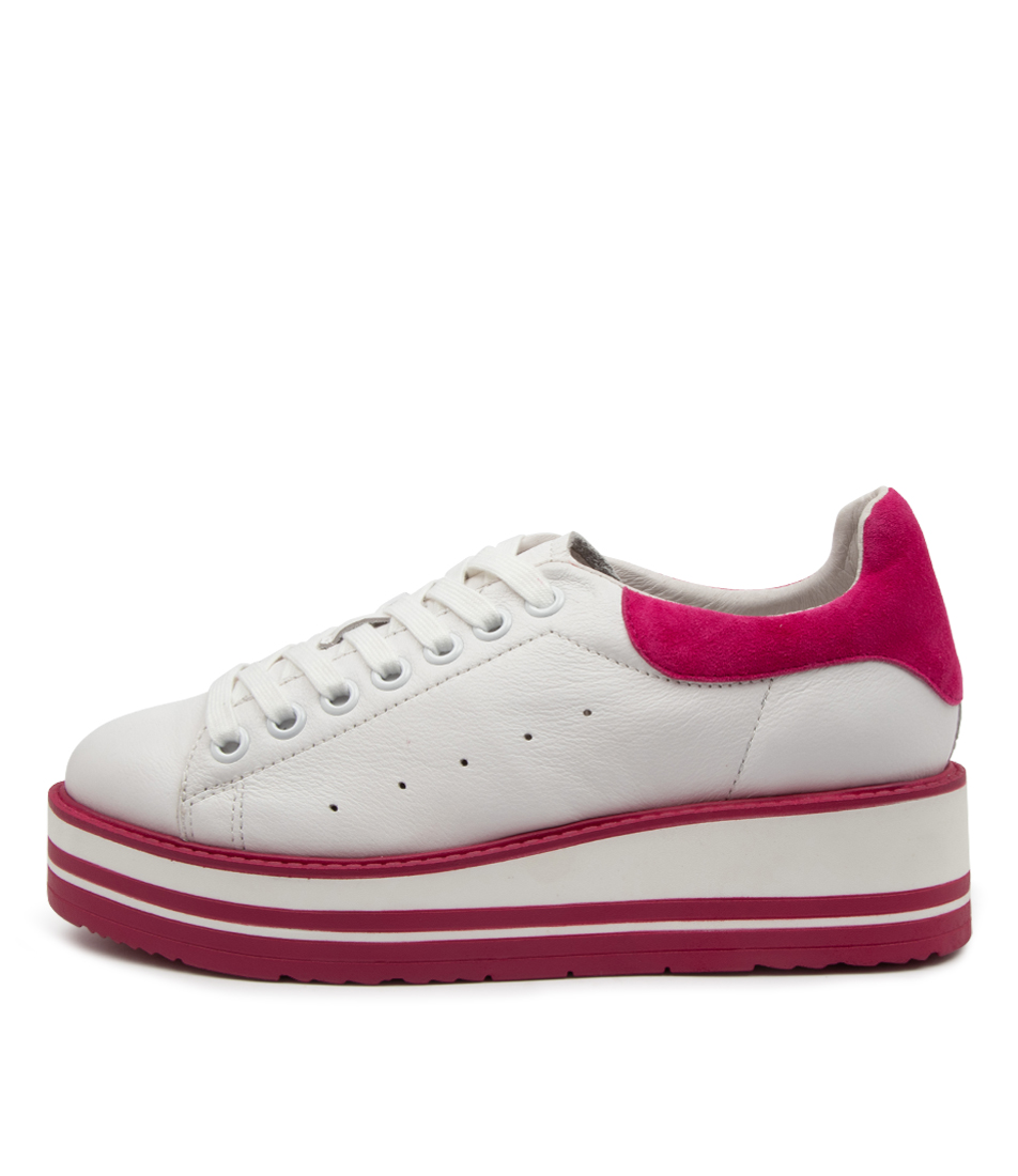 Buy Top End Siobhan White Fuchsia Sneakers online with free shipping
