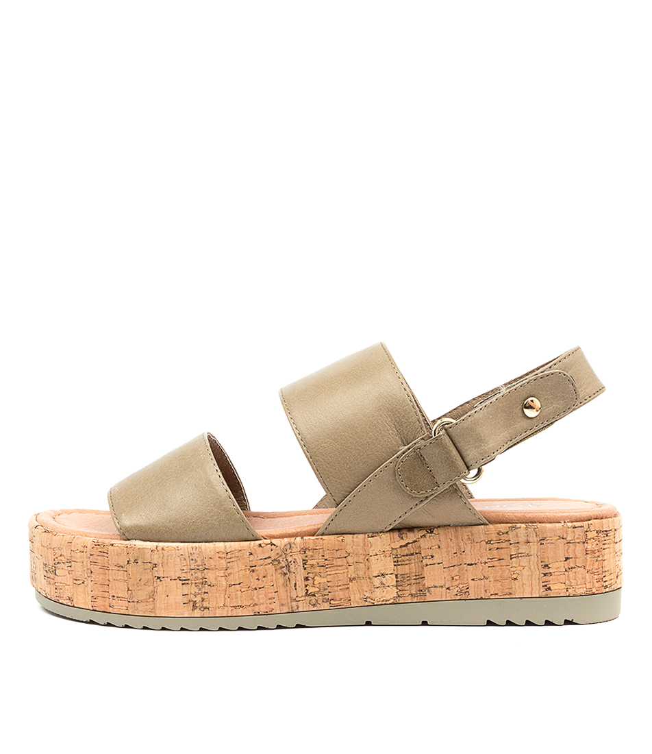 Buy Top End Alecks To Dk Khaki Flat Sandals online with free shipping