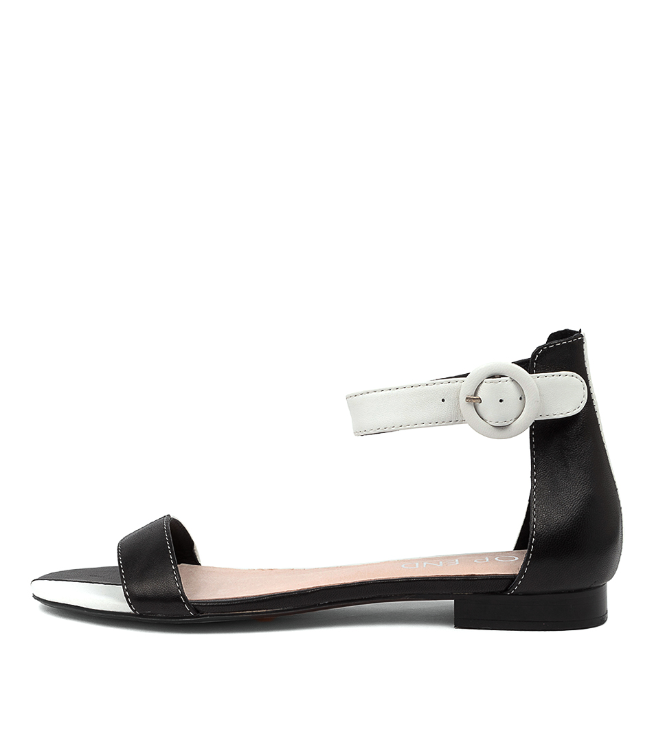 Buy Top End Poison To Black White Flat Sandals online with free shipping