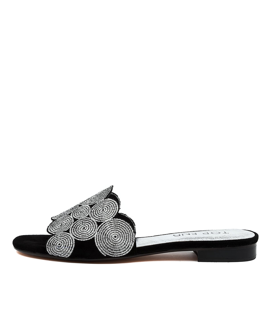 Buy Top End Princes To Black Silver Em Flat Sandals online with free shipping