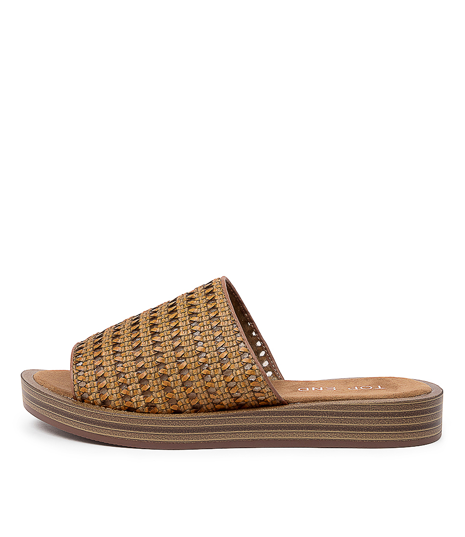 Buy Top End Faronis To Tan Cognac Flat Sandals online with free shipping