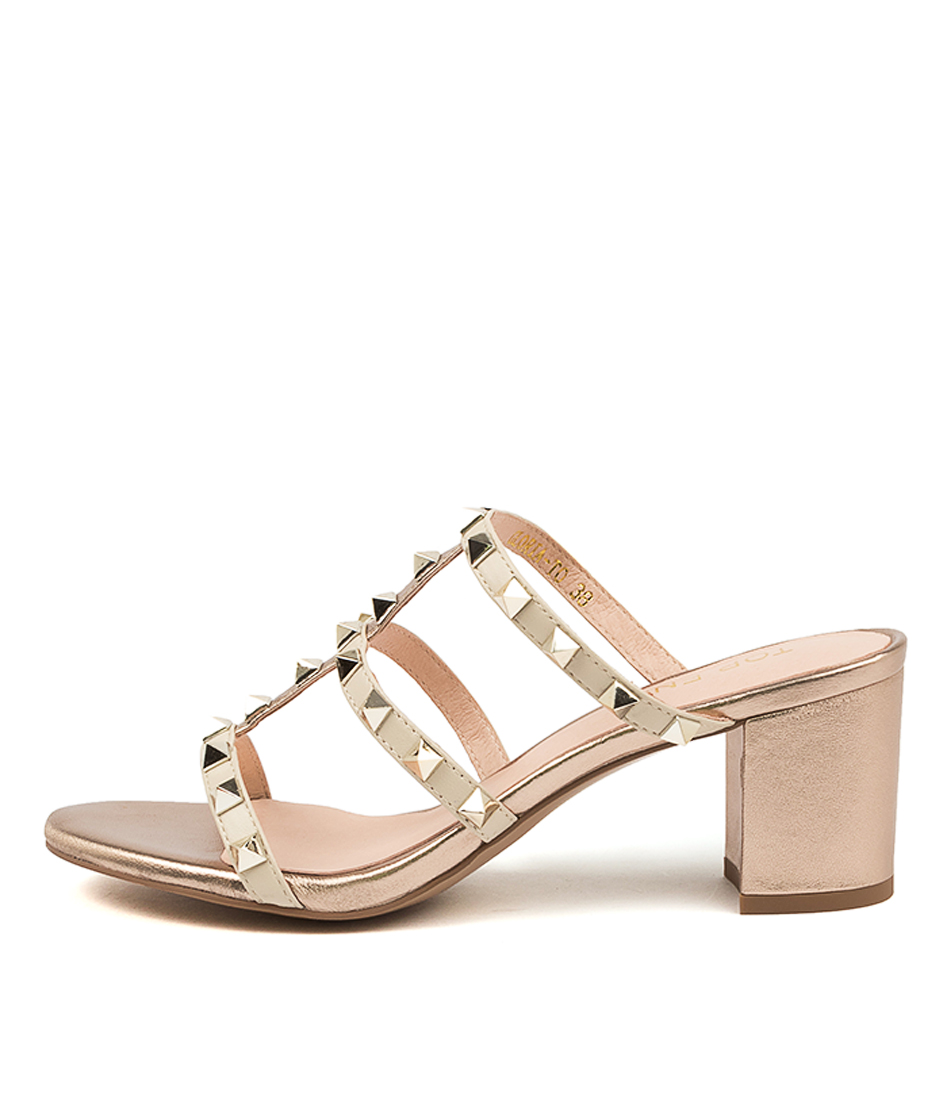 Buy Top End Gloria To Beige & Champagne Heeled Sandals online with free shipping