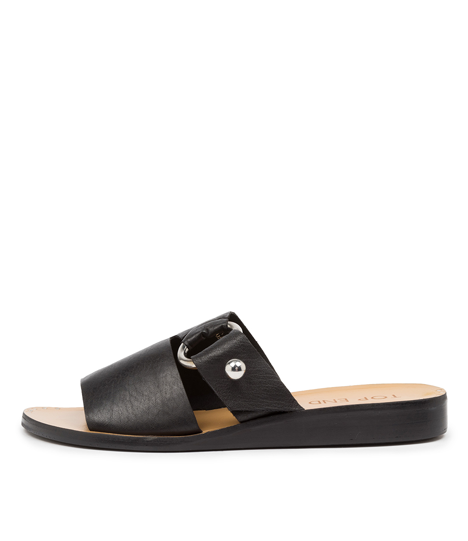 Buy Top End Regan To Black Flat Sandals online with free shipping