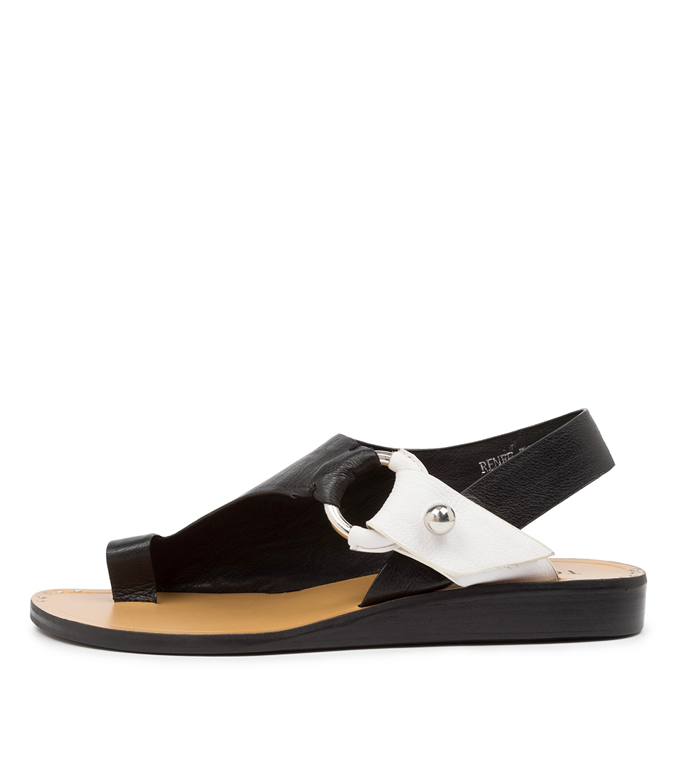 Buy Top End Renee To Black White Flat Sandals online with free shipping