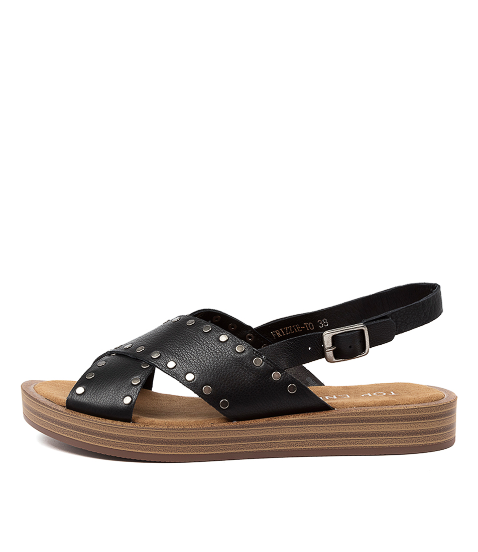 Buy Top End Frizzie To Black Flat Sandals online with free shipping